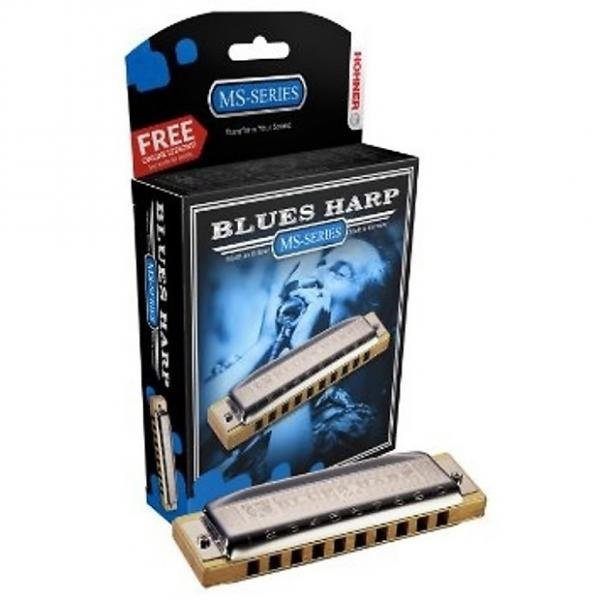 Custom HOHNER Blues Harp MS Harmonica Key F#, Made in Germany, Includes Case, 532BL-F# #1 image