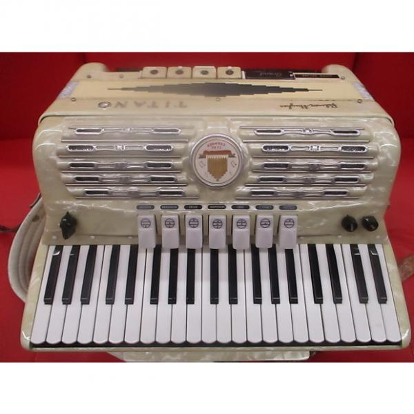 Custom Palmer Hughes  Titano Super deluxe Grand Electric Accordion  1950's Pearl White #1 image