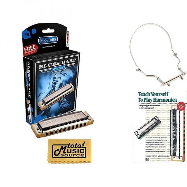 Custom HOHNER Blues Harp MS Harmonica Key F#, Made in Germany, Case, Book,  & Harmonica Holder, 532BL-F# COMP #1 image