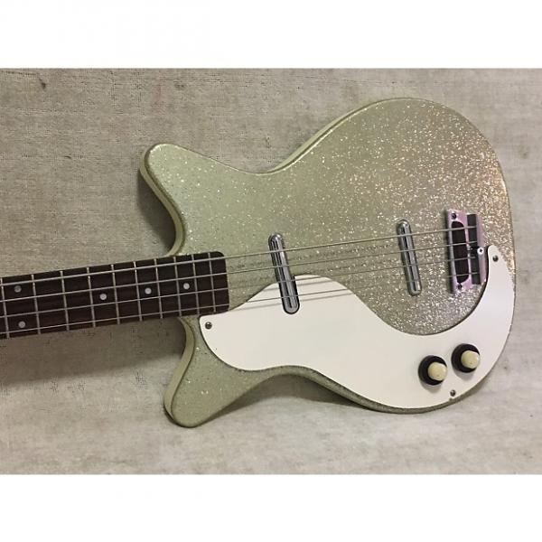 Custom Danelectro Lefty Left Hand DC Bass + Case 1998-2001 Silver Sparkle #1 image
