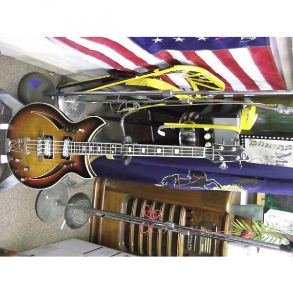 Custom kingston hollow body short scale bass 1960's sunburst #1 image