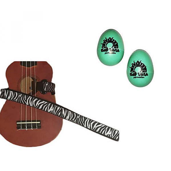 Custom Deluxe Ukulele Strap - White Zebra Strap w/Bonus Pair of Rhythm Egg Shakers - Green #1 image