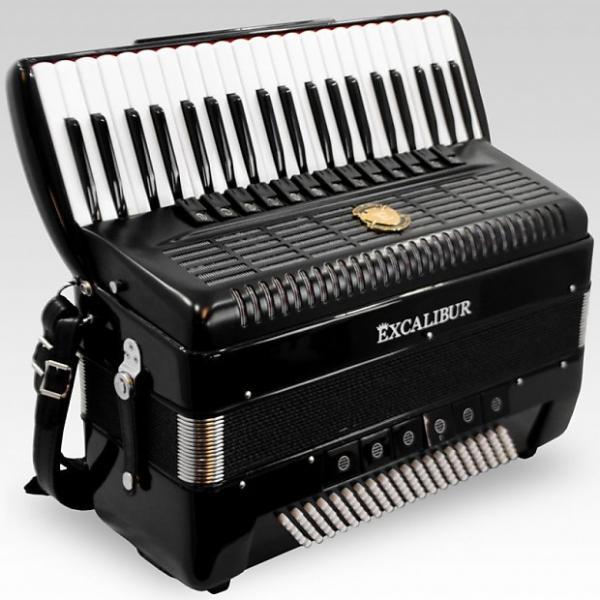Custom Excalibur German Weltbesten Ultralite 120 Bass 13 Switch Piano Accorion - Satin Polish Ebony #1 image