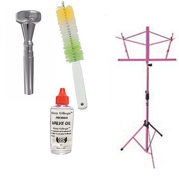 Custom Dizzy Gillespie Trumpet Mouthpiece w/Trumpet Valve Oil & Valve Casing Brush + Pink Music Stand #1 image