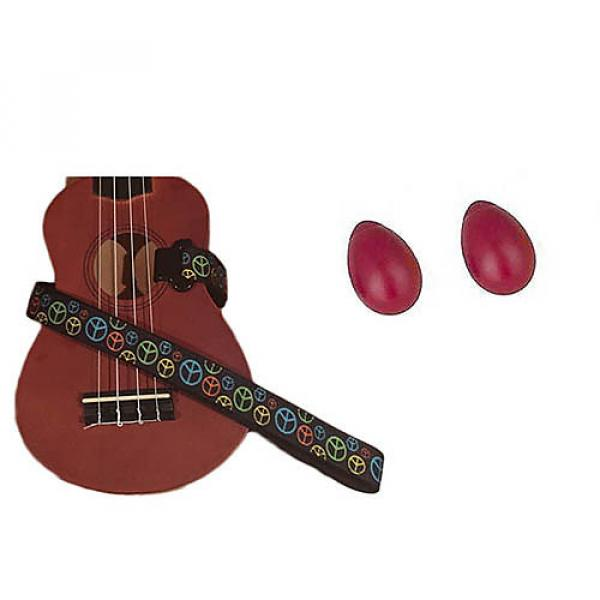 Custom Deluxe Ukulele Strap - Peace Sign Neon Strap w/Bonus Pair of Rhythm Egg Shakers - Red #1 image