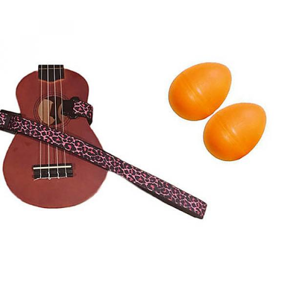 Custom Deluxe Ukulele Strap - Pink Leopard Strap w/Bonus Pair of Rhythm Egg Shakers - Orange #1 image