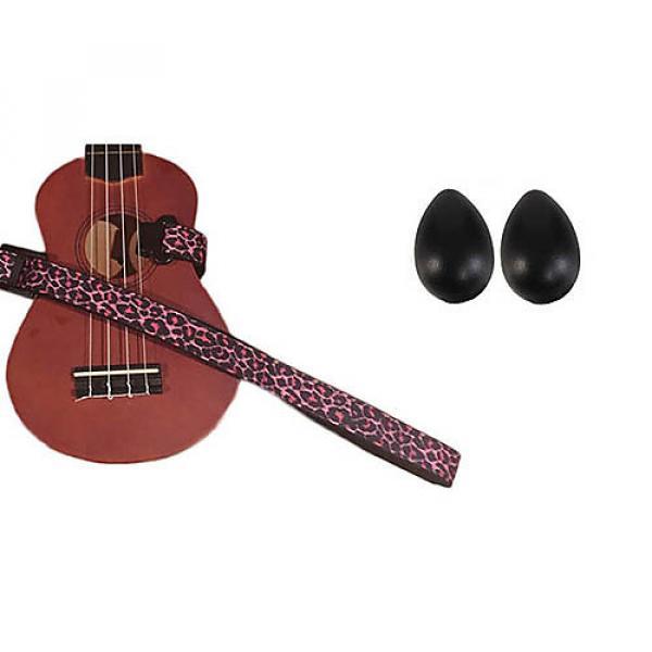Custom Deluxe Ukulele Strap - Pink Leopard Strap w/Bonus Pair of Rhythm Egg Shakers - Black #1 image