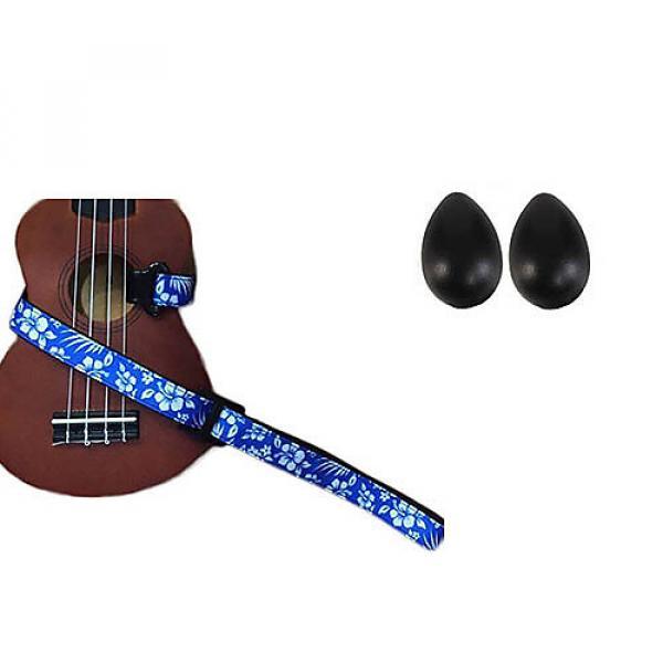 Custom Deluxe Ukulele Strap - Hawaiian Flower Blue w/Bonus Pair of Rhythm Egg Shakers - Black #1 image