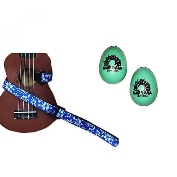 Custom Deluxe Ukulele Strap - Hawaiian Flower Blue w/Bonus Pair of Rhythm Egg Shakers - Green #1 image