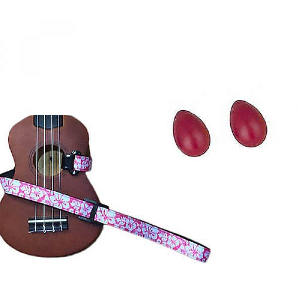 Custom Deluxe Ukulele Strap - Hawaiian Flower Pink w/Bonus Pair of Rhythm Egg Shakers - Red #1 image