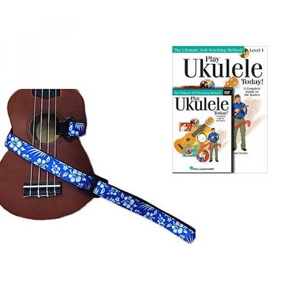 Custom Deluxe Ukulele Strap - Hawaiian Flower Blue w/Bonus Play Ukulele Today Book CD DVD Pack #1 image