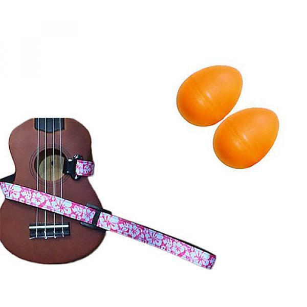 Custom Deluxe Ukulele Strap - Hawaiian Flower Pink w/Bonus Pair of Rhythm Egg Shakers - Orange #1 image