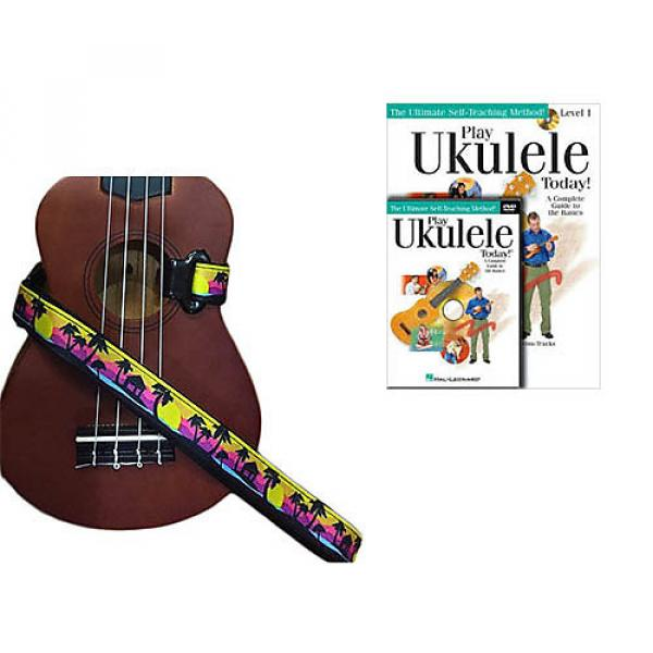 Custom Deluxe Ukulele Strap - Palm Trees Strap w/Bonus Play Ukulele Today Book CD DVD Pack #1 image