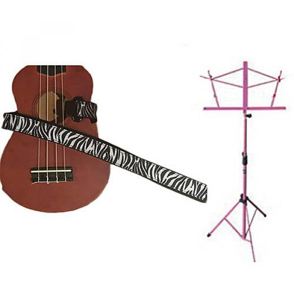 Custom Deluxe Ukulele Strap - White Zebra Strap w/Pink Collapsible Music Stand #1 image
