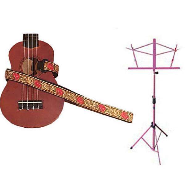 Custom Deluxe Ukulele Strap - Desert Rose Red Strap w/Pink Collapsible Music Stand #1 image