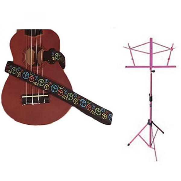 Custom Deluxe Ukulele Strap - Peace Sign Neon Strap w/Pink Collapsible Music Stand #1 image