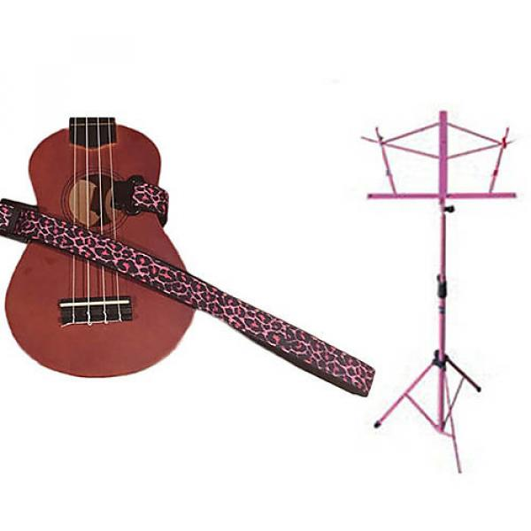Custom Deluxe Ukulele Strap - Pink Leopard Strap w/Pink Collapsible Music Stand #1 image