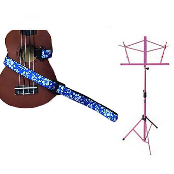 Custom Deluxe Ukulele Strap - Hawaiian Flower Blue w/Pink Collapsible Music Stand #1 image