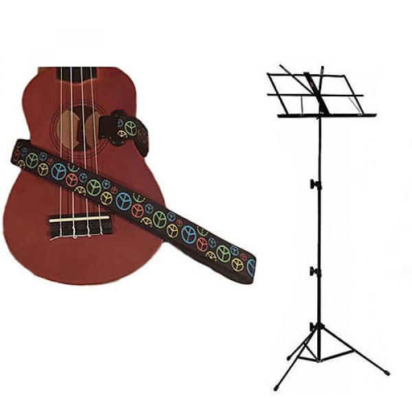 Custom Deluxe Ukulele Strap - Peace Sign Neon Strap w/Black Collapsible Music Stand #1 image