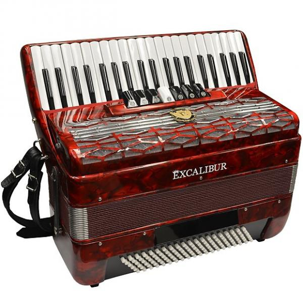 Custom Excalibur  Super Classic 120 Bass Piano Accordion - Red #1 image