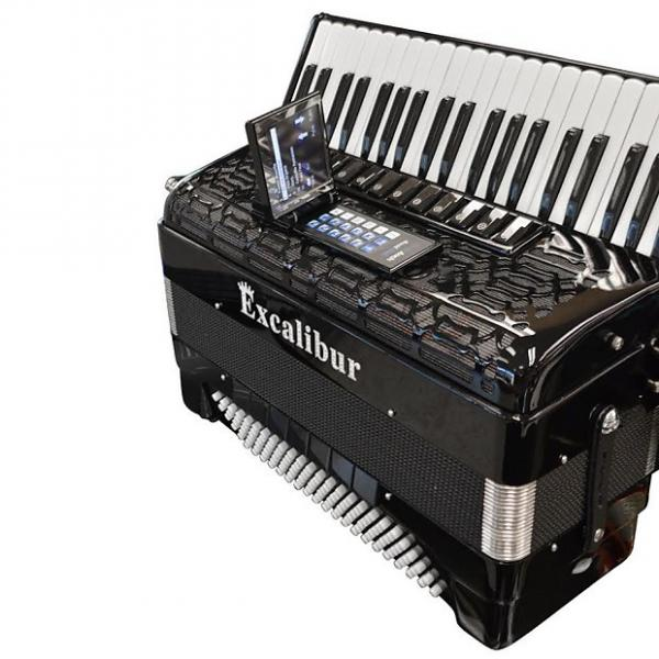Custom Excalibur  Crown Triple Mussette Piano Accordion with ELX - Black #1 image