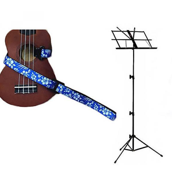 Custom Deluxe Ukulele Strap - Hawaiian Flower Blue w/Black Collapsible Music Stand #1 image