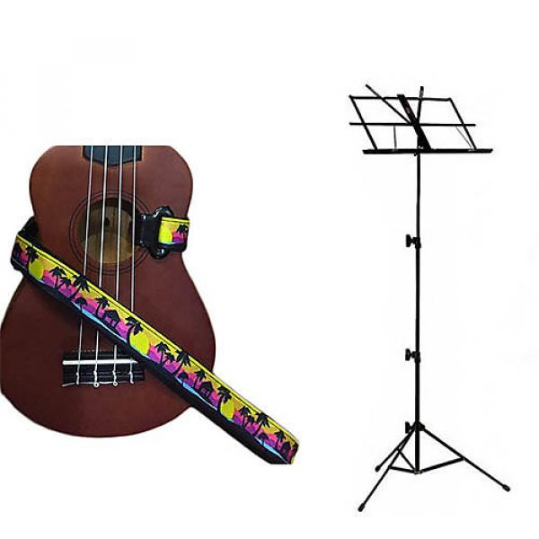Custom Deluxe Ukulele Strap - Palm Trees Strap w/Black Collapsible Music Stand #1 image