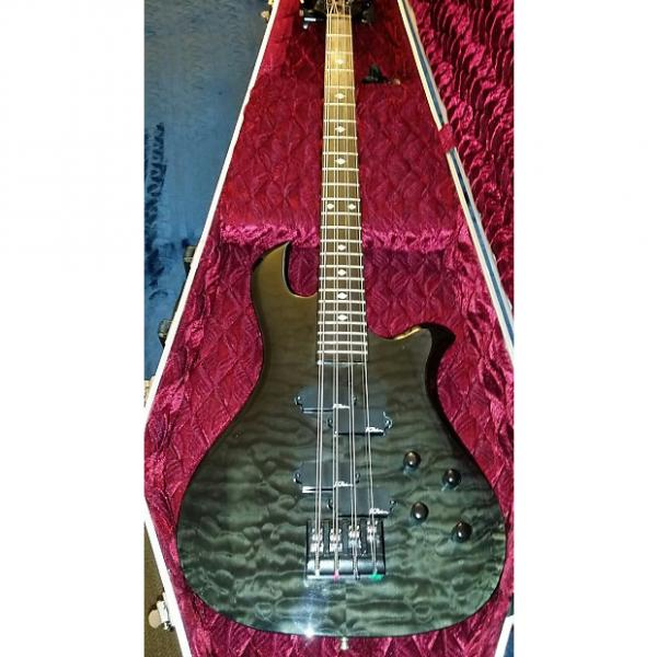 Custom BC Rich Custom NJ Neck Thru 8 String Eagle Bass 2014 Trans Black over Quilted Maple #1 image