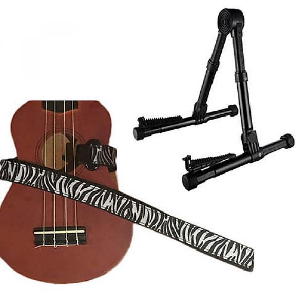 Custom Deluxe Ukulele Strap - White Zebra Strap w/Meisel GS76 Stand Black #1 image