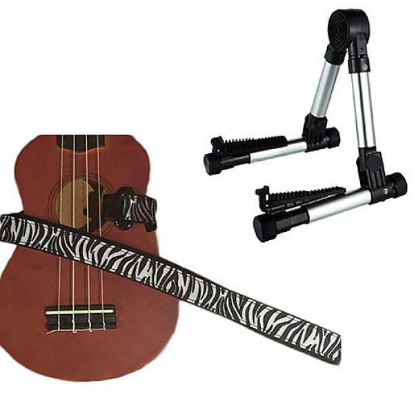 Custom Deluxe Ukulele Strap - White Zebra Strap w/Meisel GS76 Stand Silver #1 image