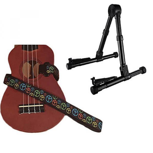 Custom Deluxe Ukulele Strap - Peace Sign Neon Strap w/Meisel GS76 Stand Black #1 image