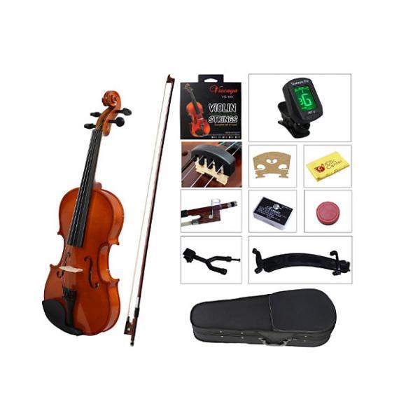Custom YMC Full Size 4/4 Violin Starter Kit with Hard Case,Bow,Rosin,Extra Strings,Shoulder Rest,Mute,Elect #1 image