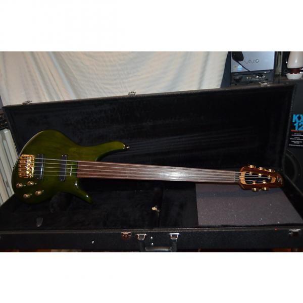 Custom samick  sakb56692 fretless bass guitar 2004 Trans Green #1 image