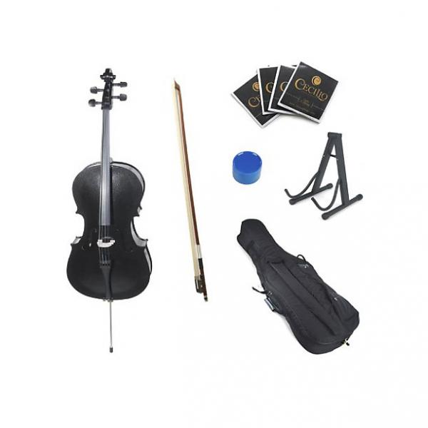 Custom Cecilio CCO-Black Student Cello with Soft Case, Stand, Bow, Rosin, Bridge and Extra Set of Strings, #1 image