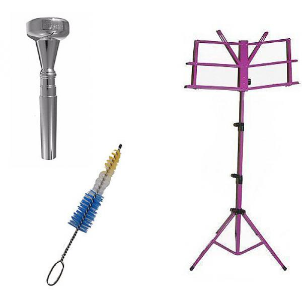 Custom Dizzy Gillespie Trumpet Mouthpiece w/Trumpet Mouthpiece Cleaning Brush + Purple Music Stand #1 image