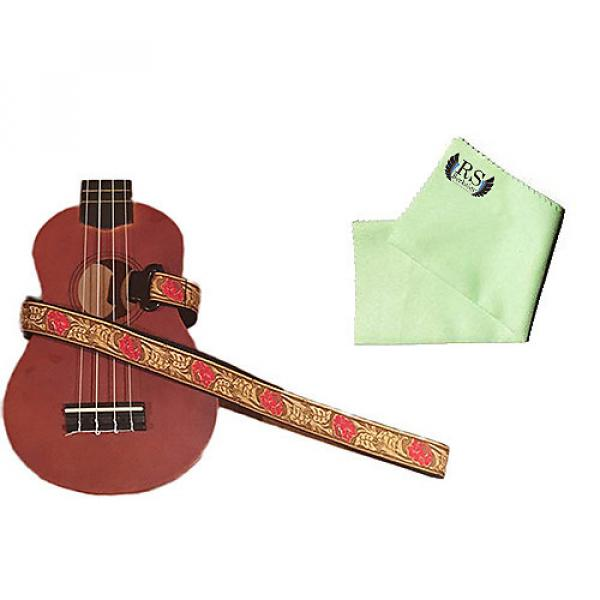 Custom Masterstraps Desert Rose Red Ukulele Strap Pack w/Bonus Ukulele Cleaning Cloth #1 image