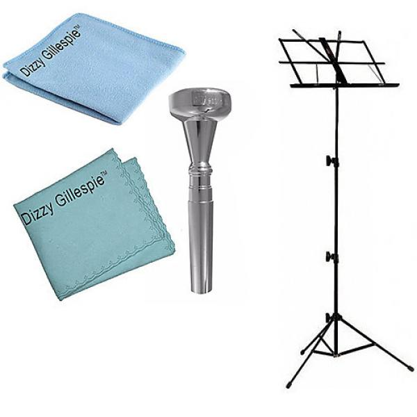 Custom Dizzy Gillespie Trumpet Mouthpiece w/Silver Polish Cloth & Cleaning Cloth + Black Music Stand #1 image