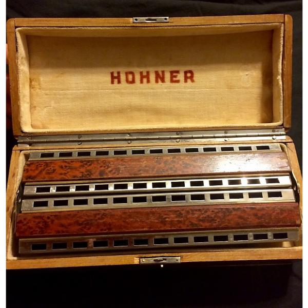 Custom Hohner double bass Chromatica #265 1930's  Silver with burl wood #1 image