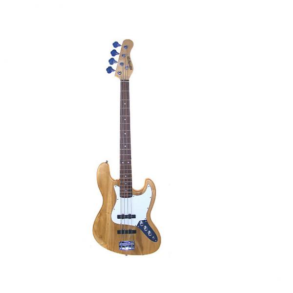 "Custom Full Size 43"" Jazz J Electric Bass Guitar with Gig Bag and Accessories - Natural (Includes, Strap, S #1 image"