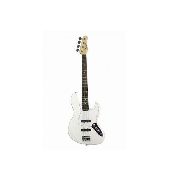 """Custom Full Size 4 String 46"""" White Jazz J Electric Bass Guitar with Free Gig Bag and Accessories - (Includ #1 image"""