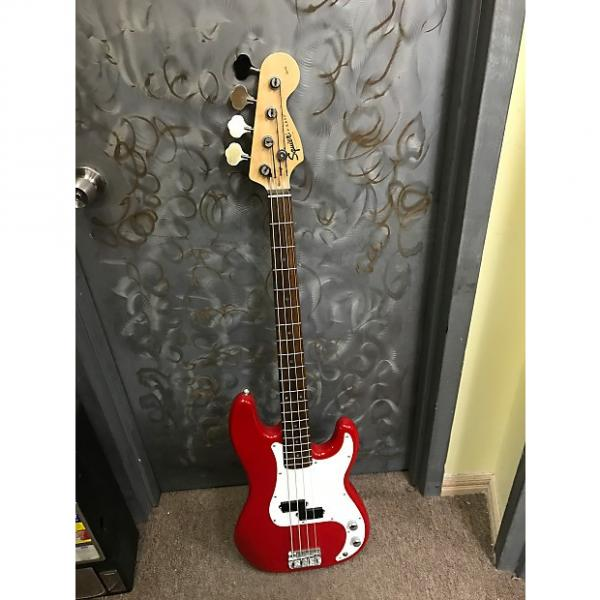 Custom Fender Squier P-Bass 4 String Electric Bass Guitar - Cherry Red #1 image