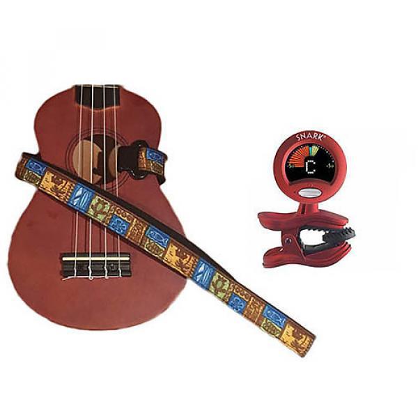 Custom Masterstraps Tiki Hawaiian Ukulele Strap Pack w/SN2Clip On Chromatic Ukulele Tuner #1 image