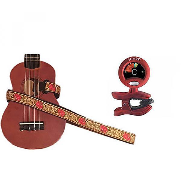 Custom Masterstraps Desert Rose Red Ukulele Strap Pack w/SN2Clip On Chromatic Ukulele Tuner #1 image