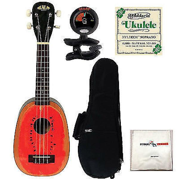 Custom Kala KA-WTML Watermelon Soprano Ukulele + Gig Bag + Tuner + Strings + Cloth #1 image