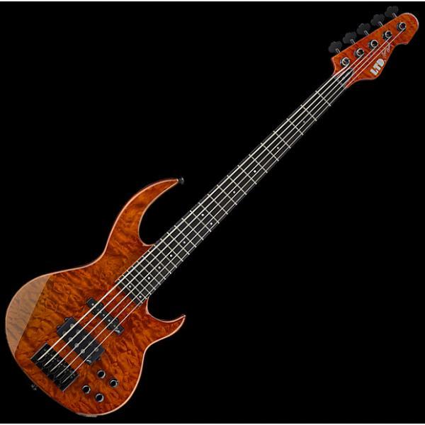 Custom ESP LTD BB-1005 QM Bunny Brunel Electric Bass in Burnt Orange #1 image