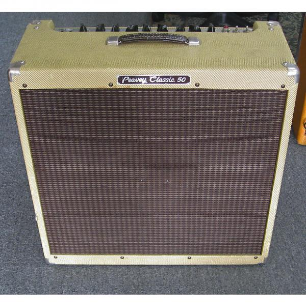 Custom Peavey Classic 50 Combo Guitar Tube Amp Cab 410 w/ Footswitch Tweed #1 image