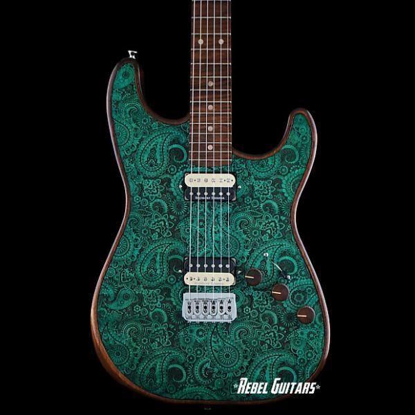 Custom Walla Walla Guitar Seeker Pro Laser Turquoise Paisley Strat Guitar Stratocaster #1 image