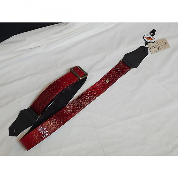 Custom GET'M GET'M Anakonda Red REPTILE print GUITAR strap NEW - Snake anaconda #1 image