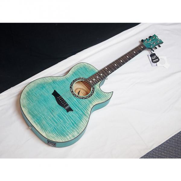 Custom DEAN Exhibition Flame Maple CUTAWAY acoustic A/E GUITAR Faded Denim Blue NEW #1 image
