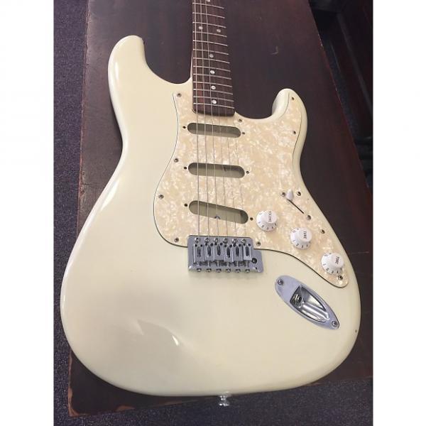 Custom Squier By Fender Strat Bullet Yellowed White #1 image